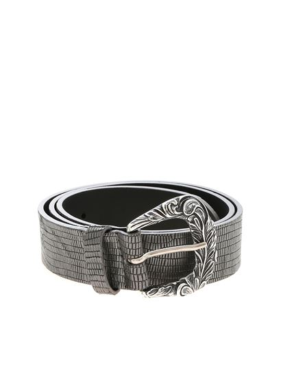 Orciani - Silver belt with inlaid buckle