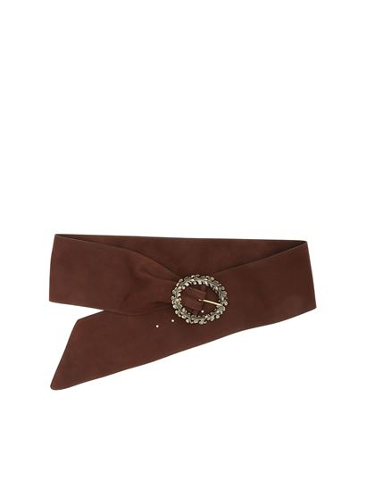 Orciani - Brown belt with decorated buckle
