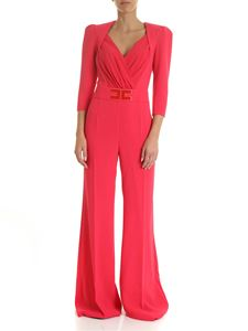 Elisabetta Franchi - Crepe palazzo jumpsuit with logo in bougainville color