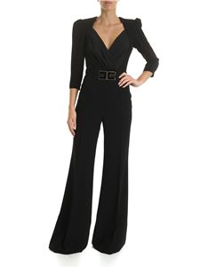 Elisabetta Franchi - Black crepe jumpsuit with logo