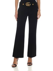 Gucci - Black flared trousers with Double G