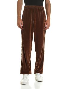Gucci - Brown trousers with logoed bands