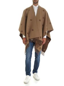 Gucci - Double G reversible poncho in brown