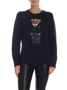 POLO Ralph Lauren - Blue pullover with bear intarsia