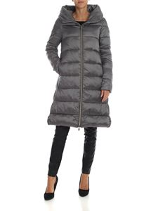 Save the duck - Grey flared down jacket with branded patch