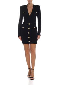 Balmain - Black quilted effect dress