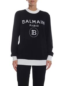 Balmain - Black pullover with logo inlay