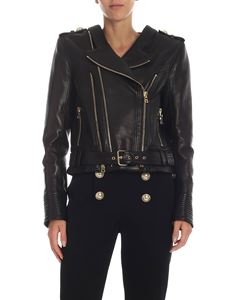 Balmain - Black leather jacket with golden details