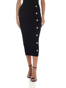 Balmain - Black pencil skirt with buttons