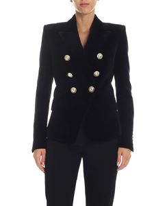 Balmain - Double-breasted jacket in black velvet
