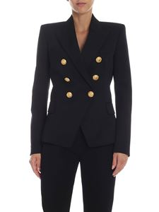Balmain - Black double-breasted jacket with golden buttons
