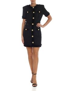 Balmain - Dress in black bouclé with velvet details