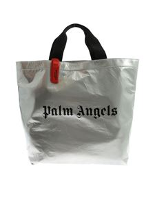 Palm Angels - Logo print shopper in silver color