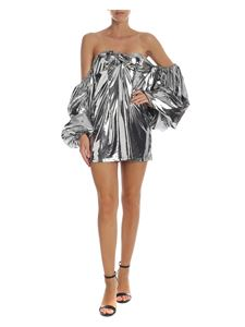 The Attico - Mini dress with wide sleeves in silver color