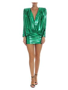 The Attico - Metallic green V-neck dress