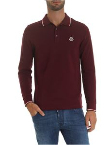Moncler - Polo bordeaux con patch logo