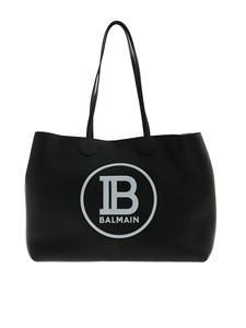 Balmain - Black leather tote bag with white maxi logo