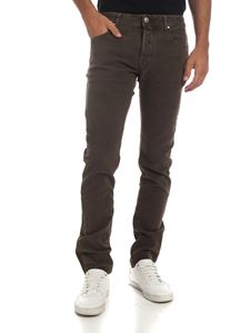 Jacob Cohën - Green trousers with beige logo label