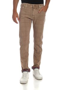 Jacob Cohën - Beige trousers with tone-on-tone logo label