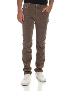 Jacob Cohën - Beige trousers with tone-on-tone calf hair label