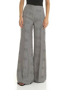 Elisabetta Franchi - Black and ivory vertical striped trousers