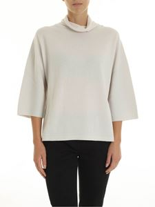 Peserico - Ivory-colored turtleneck with lamé details