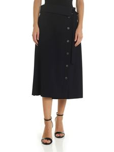 Peserico - Blue midi skirt with waist strap