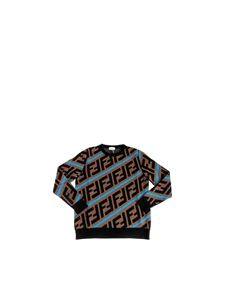 Fendi Jr - Zucca pullover in brown and light blue wool