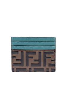 Fendi - Card holder in aquamarine with brown FF motif