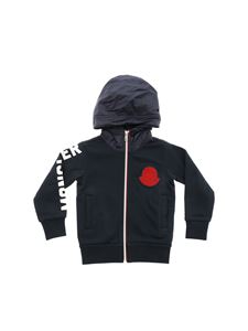 Moncler Jr - Blue hoodie in technical fabric