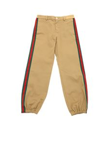 Gucci - Camel-colored trousers with logo patch