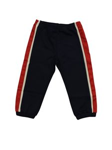Gucci - Blue trousers with GG branded bands