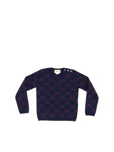 Gucci - Blue pullover with GG lamè logo