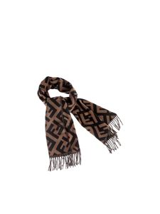 Fendi - Long scarf in brown finished with fringe
