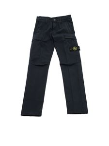 Stone Island Junior - Blue trousers with removable logo