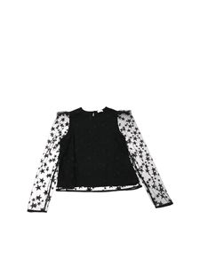 Elisabetta Franchi - Black tulle top with embroidered stars