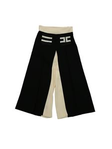 Elisabetta Franchi - Palazzo trousers in black and cream color