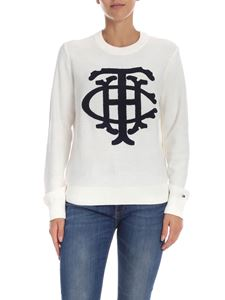 Tommy Hilfiger - Cream-colored pullover with logo detail