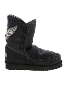 Mou - Eskimo24 boots in dark green ankle with rhinestones