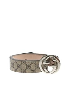 Gucci - GG Supreme brown belt with GG buckle