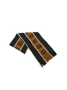 Gucci - Grey and beige scarf with GG ribbon