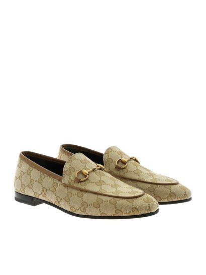 Gucci - Beige GG moccasins with horsebit