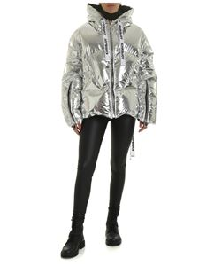 Khrisjoy - Logo down jacket in laminated silver