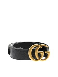 Gucci - Black leather belt with Double G buckle