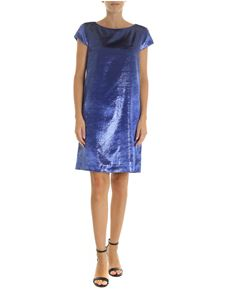 Love Moschino - Electric blue velor dress with logo