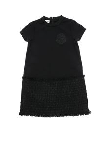 Moncler Jr - Black dress with bouclé detail
