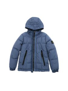 Stone Island Junior - Light blue down jacket with logo