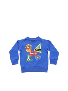 Moncler Jr - Electric blue sweatshirt with logo prints