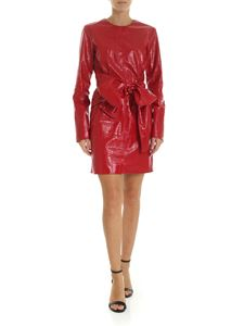 MSGM - Red eco-leather dress with reptile print