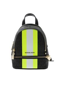 Michael Kors - Black backpack with neon yellow print